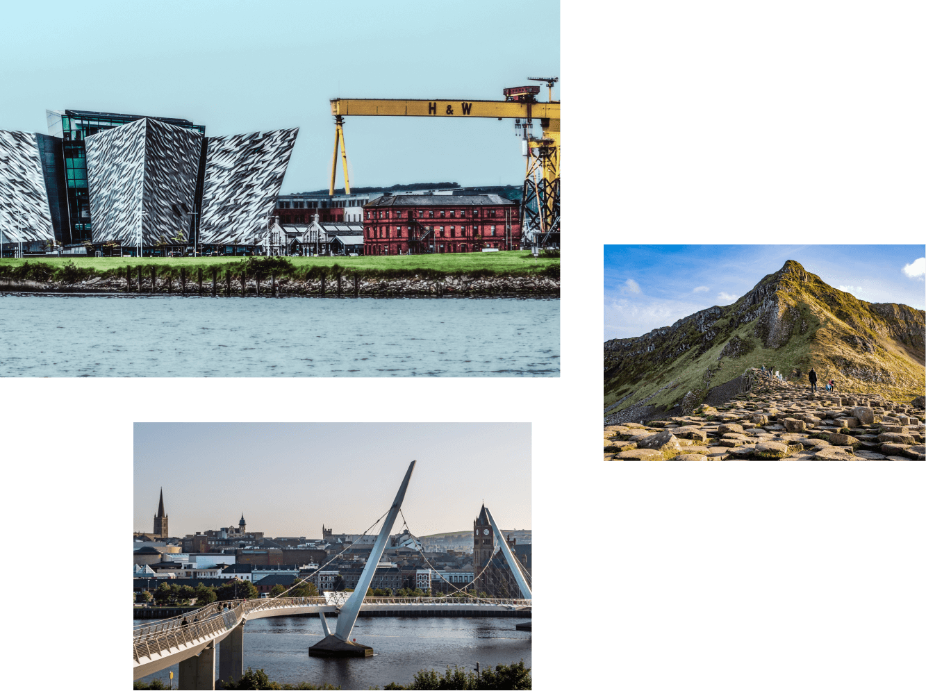 Collage of images which includes business meetings and an image of Belfast city hall.